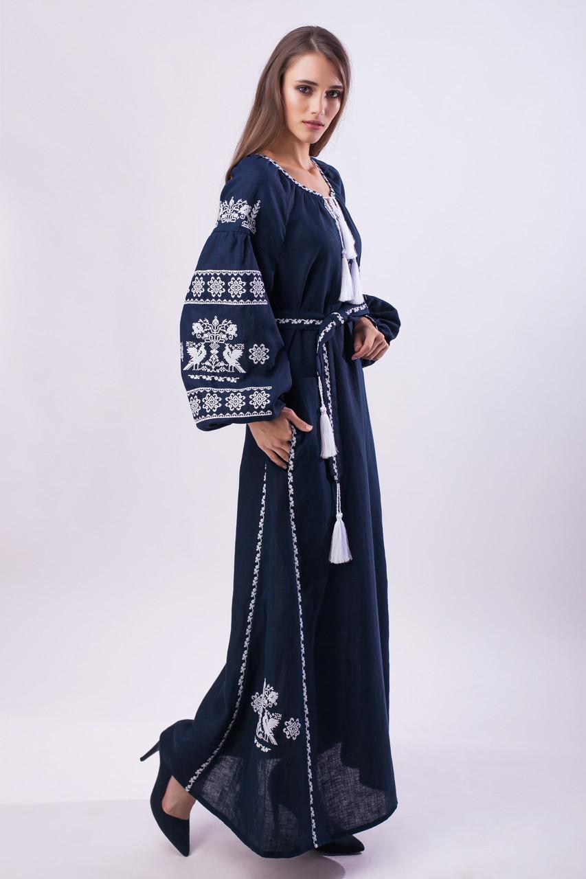 Длинное платье с вышивкой Волшебная птица