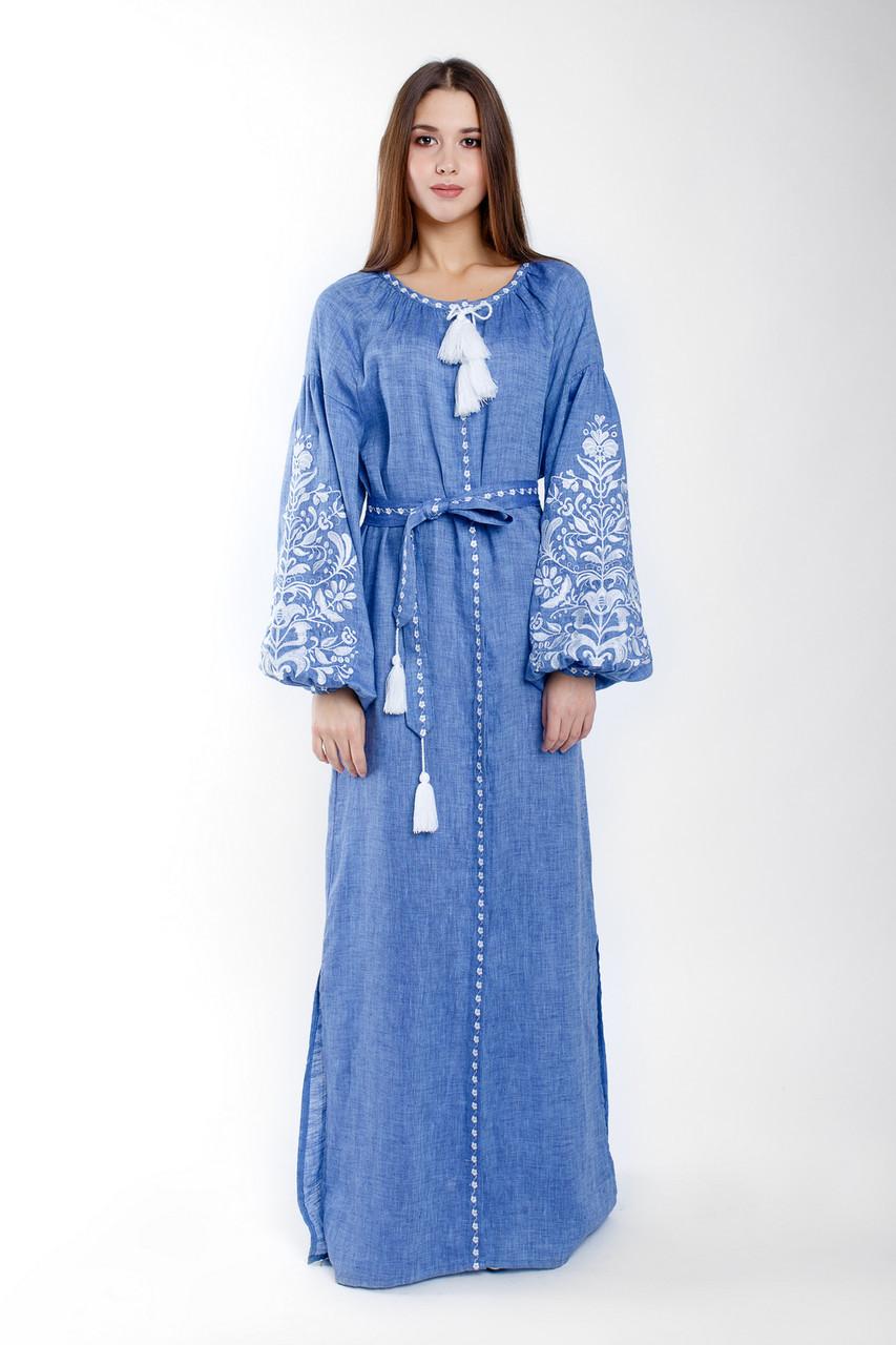 Длинное женское платье с вышивкой Дерево жизни (лен - джинс)