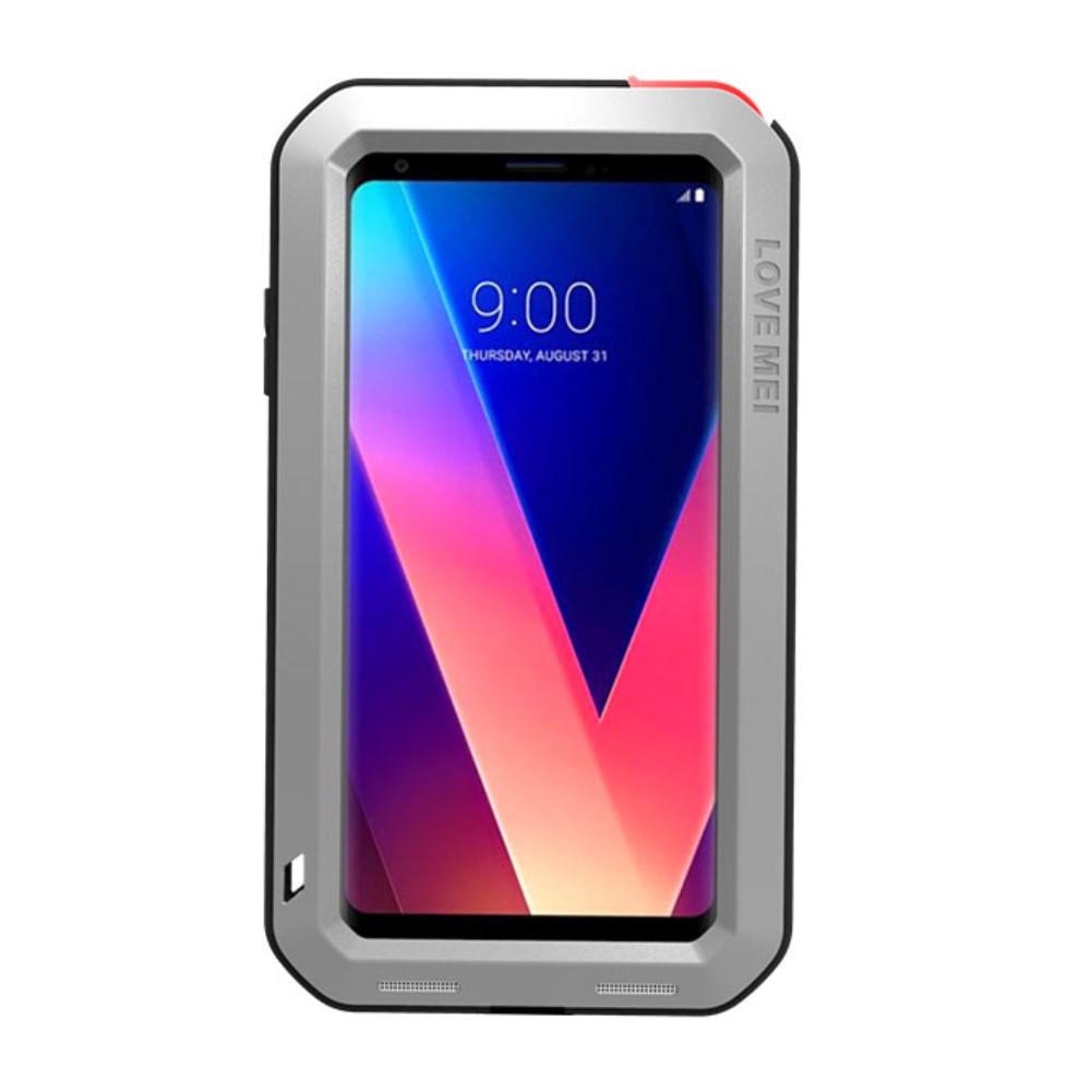 Чехол накладка для LG V30 H930 металлический с защитным стеклом, LOVE MEI, серебристый