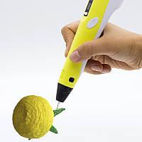 3д Ручка 3D + 10м ABS в подарок, желтая