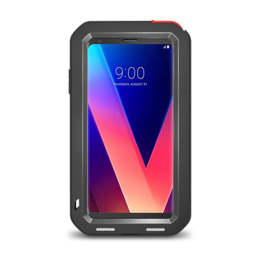 Чохол накладка для LG V30 H930 металевий з захисним склом, LOVE MEI, чорний