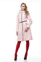 Персиковое пальто на плащевке расклешенное приталенное весна-осень 2018, размер 42-50