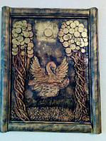 Картина из монет ручной работы 40*50 см Лебедь