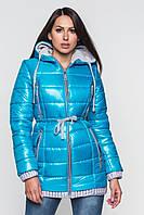 Зимняя теплая водонепроницаемая женская куртка со съемным капюшоном на двойном синтепоне 90117/2, фото 1