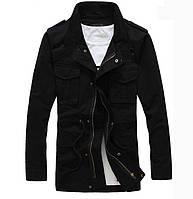 Мужкая демисезонная куртка на флисе черного цвета