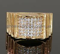 Видное кольцо с фианитами, покрытое золотом (127640) 19