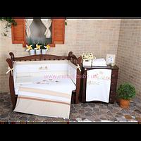"""Комплект постельного белья для новорожденных Veres""""Spring Birdies beige""""(6о, арт. 163.01"""