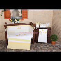 """Комплект постельного белья для новорожденных Veres""""Spring Birdies yello""""(6о, арт. 162.01"""