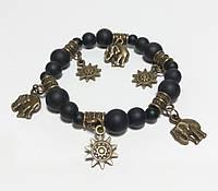 Браслет Шунгит натуральный камень, цвет черный, бронза