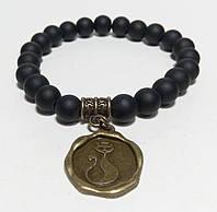 Браслет Шунгит натуральный камень, цвет черный, бронза с подвеской Кот