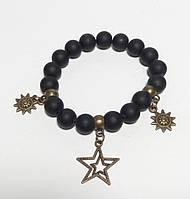 Браслет Шунгит натуральный камень, цвет черный, бронза с подвесками