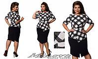 "Стильный женский костюм двойка ( блуза + юбка ) ""ткань кукурузка"" 48, 50 размер батал"