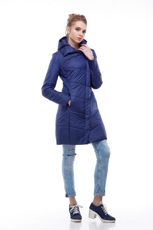 Синее стеганое пальто ниже бедра весна-осень 2018 73880f860cd72