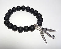 Шунгитовый браслет из натурального камня, цвет черный, с подвесками
