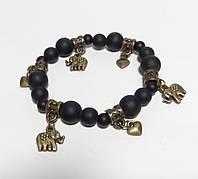 Браслет из натурального камня Шунгит, цвет черный, бронза с подвесками