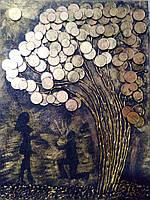 Картина из монет ручной работы 30*40см без рамки