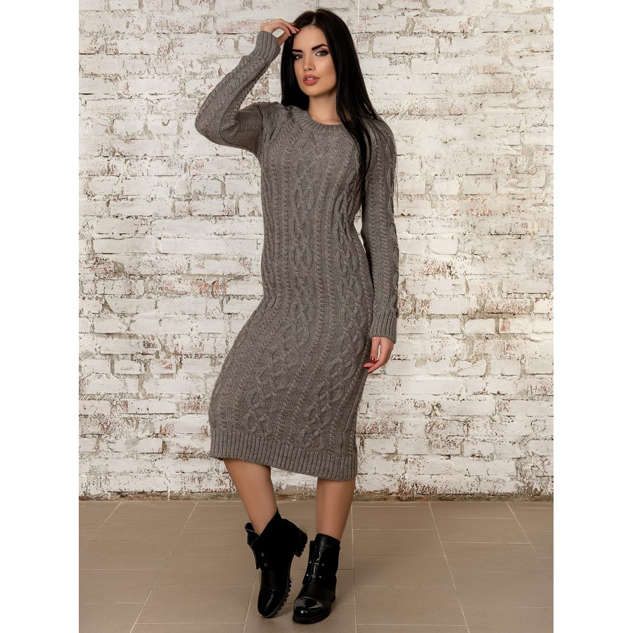 Теплое вязаное платье 44-46-48 размер 4цвета