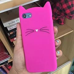 Чехол накладка на iPhone Х ярко-розовый котик