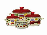 Набор эмалированной посуды Эмина 2/3,5/5,5л ковш 1,5л без кр. Варенье (2554) ТМ METROT