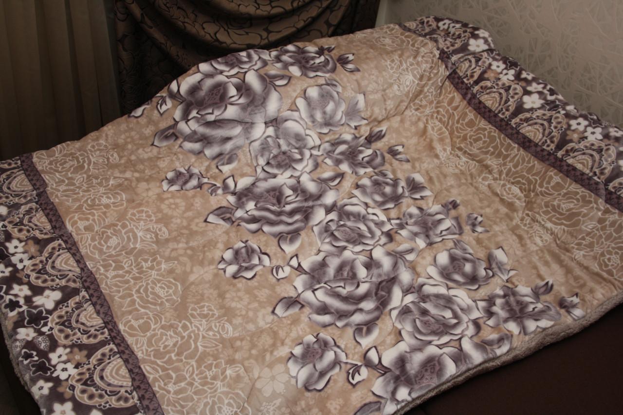 Розы плед-покрывало утепленное искусственной овчиной 160*220