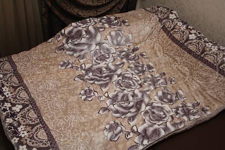Розы плед-покрывало утепленное искусственной овчиной 160*220, фото 2