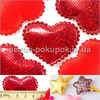 (25шт) Тканевый декор Сердце-подушечка (голограмма) Размер 4,5 х 3,5 см Цвет - КРАСНЫЙ