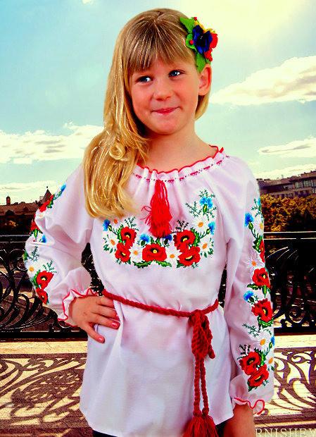 """Вышитая детская блуза для девочек """"Марися """""""