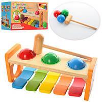 ДЕРЕВЯННАЯ ИГРУШКА КСИЛОФОН MD 0941, развивающая играа для детей, обучающая игра