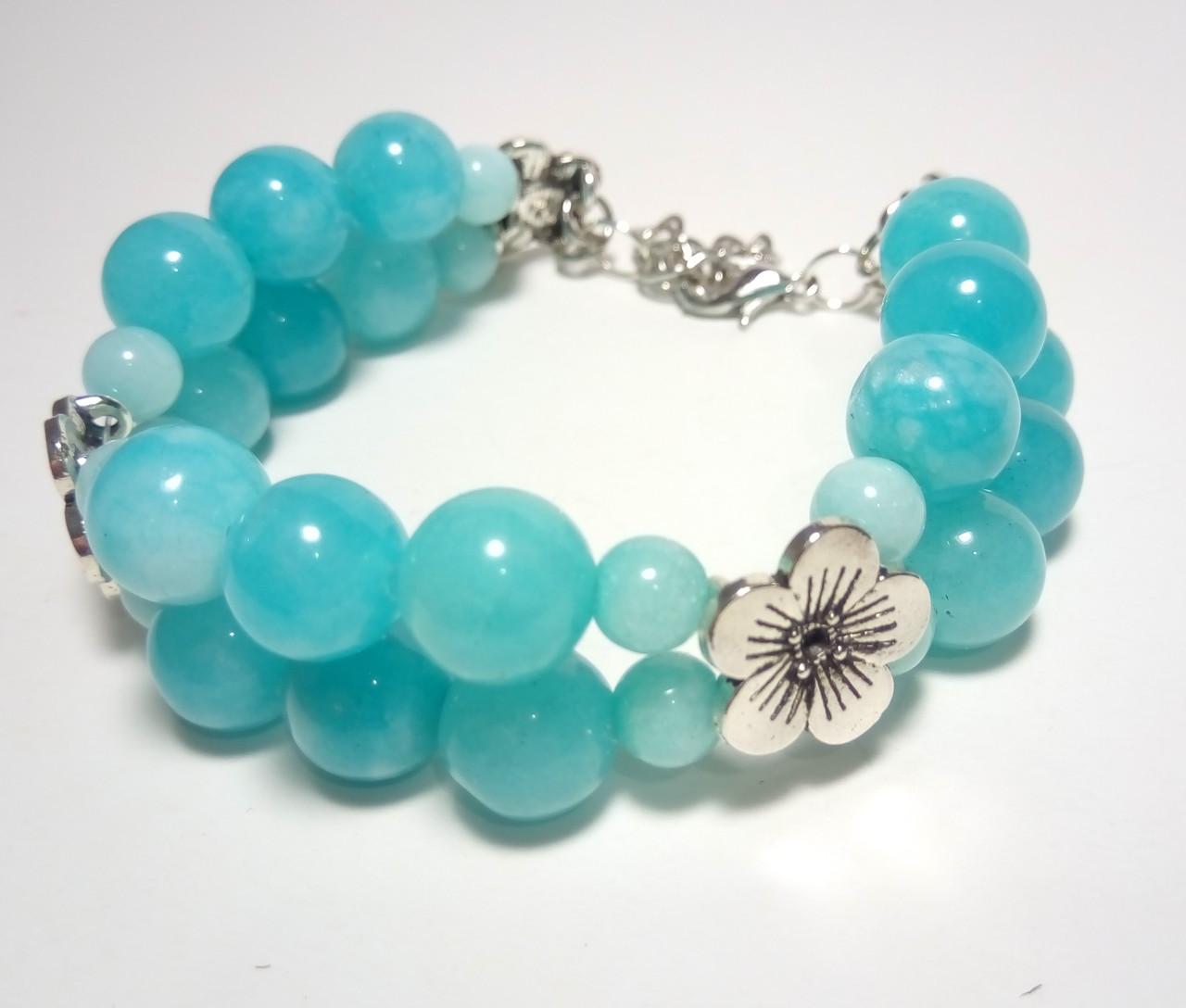 Браслет из Аквамарина двойной, натуральный камень, цвет голубой и его оттенки, тм Satori \ Sb - 0029
