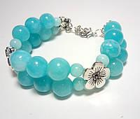 Браслет из Аквамарина двойной, натуральный камень, цвет голубой и его оттенки