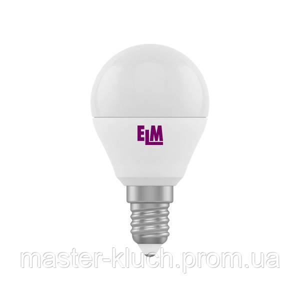 Лампа светодиодная шар ELM LED PA-10 6W E14 3000K