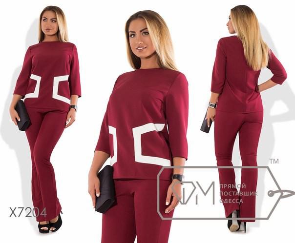 """Стильный женский костюм Блуза+брюки """"Костюмная"""" 54, 56 размер батал"""