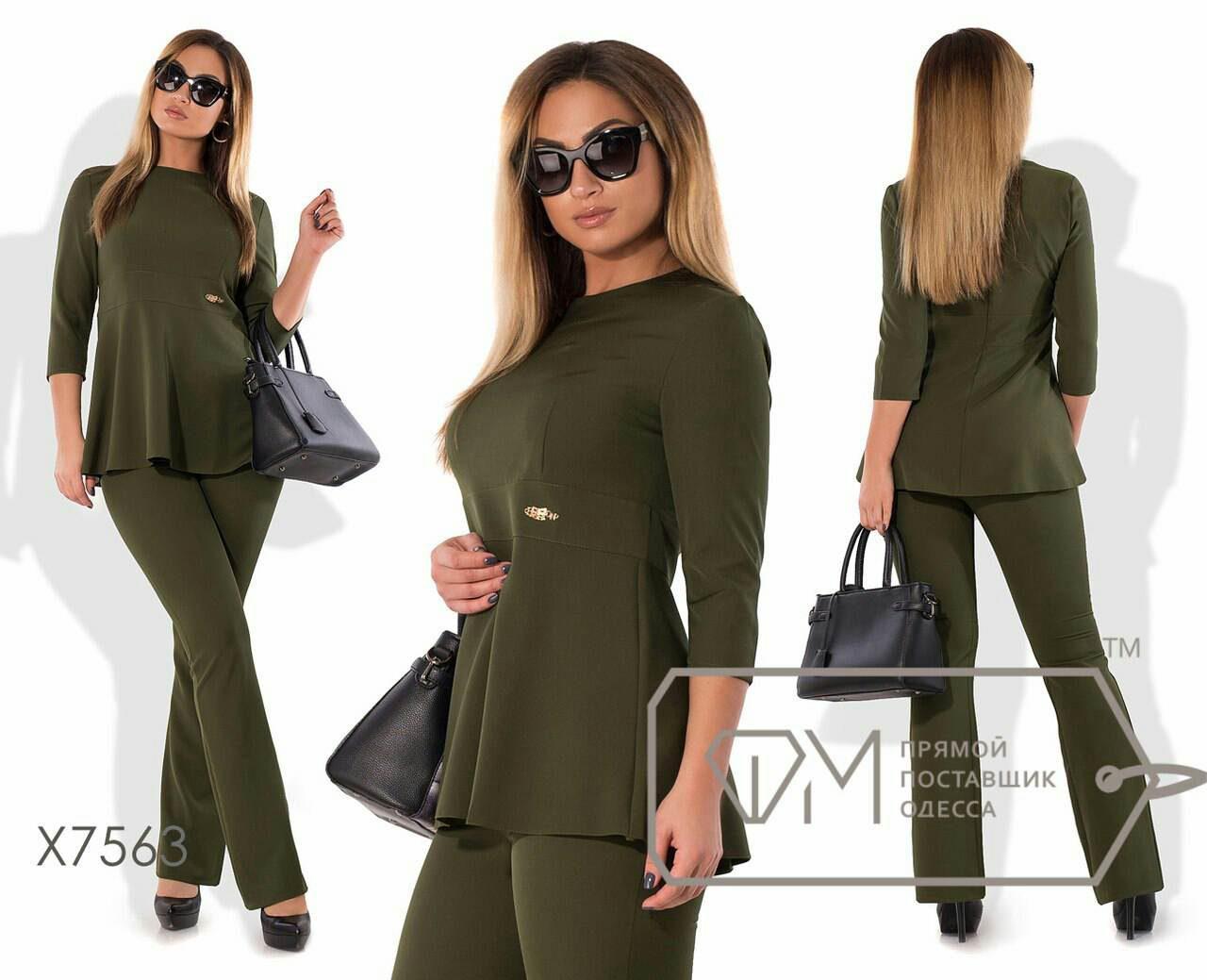 """Удобный женский костюм Блуза+брюки """"Костюмная"""" 52 размер батал"""