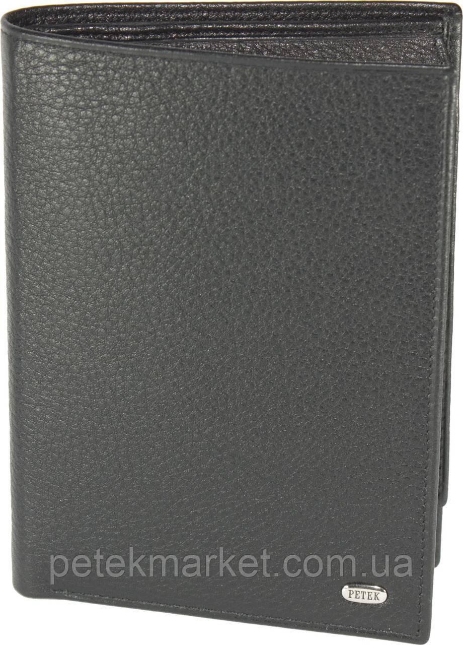 Мужское портмоне Petek 251, Черный, 2, 5+, Вертикальное, Естественная фактура, Нет, Матовая, Стандартное, Кожа