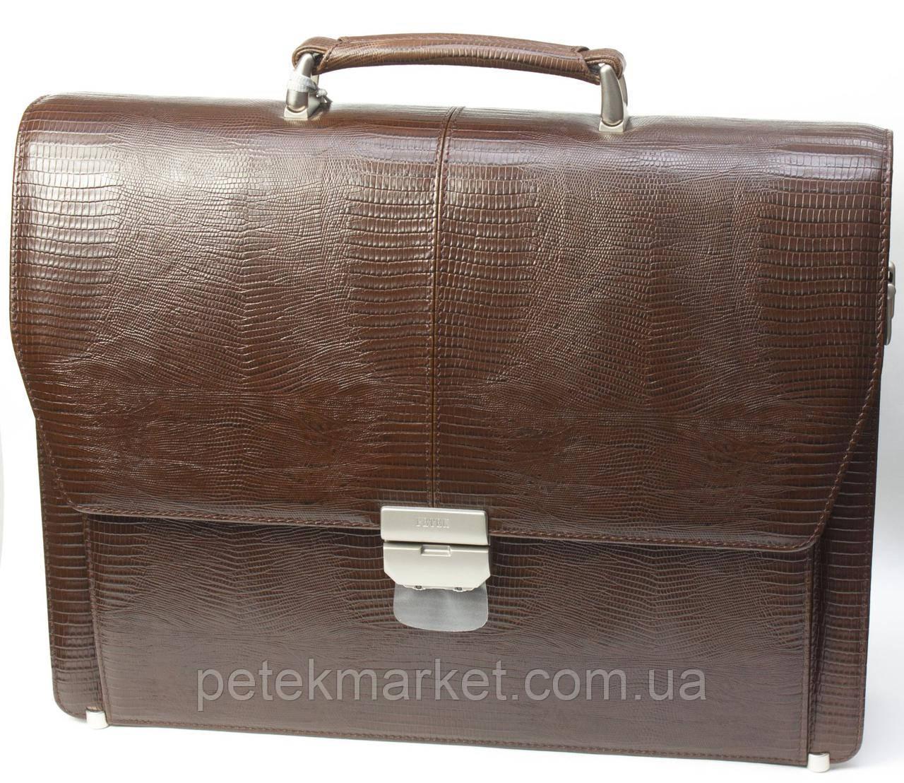 Портфель мужской Petek 799, Коричневый, Рептилия, Матовая
