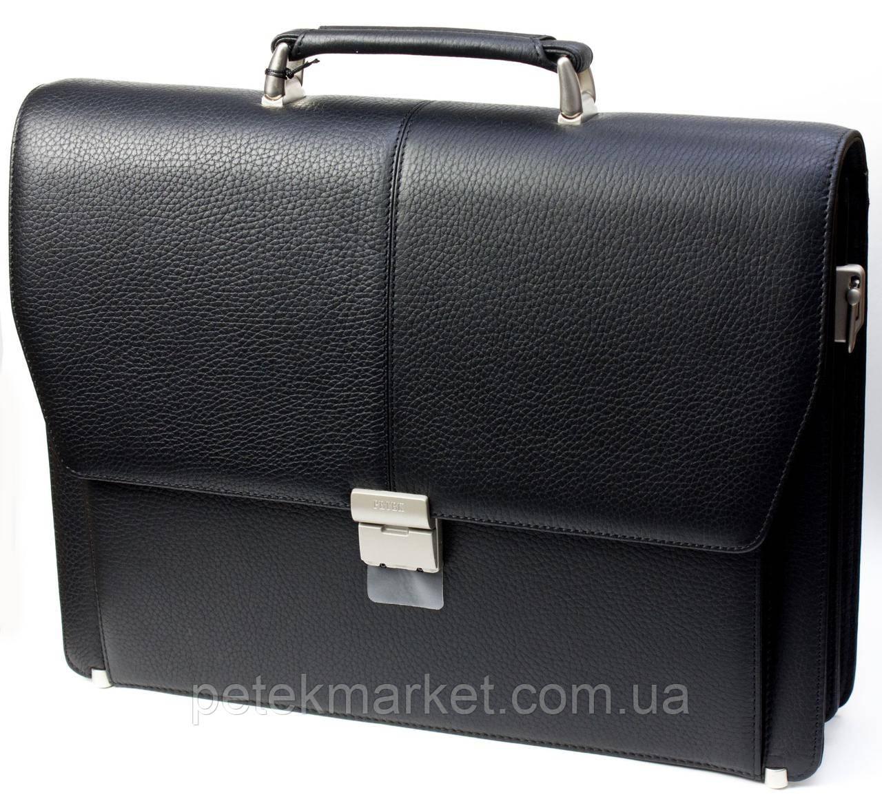 Портфель мужской Petek 799, Черный, Естественная фактура, Матовая