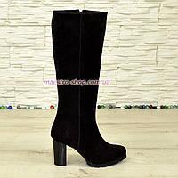 Сапоги зимние женские замшевые на устойчивом каблуке, цвет черной смородины.
