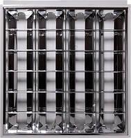 Светильник люминесцентный растровый встроенного типа  e.lum.raster.flush.4.20.b 4х20W, спаренная ПРА