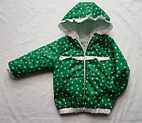 Куртка детская на девочку весна/осень (демисезон) с капюшоном (3-6 лет) (цвет зеленый) оптом со склада