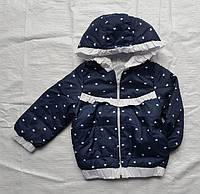 Куртка детская на девочку весна/осень (демисезон) с капюшоном (3-6 лет) (цвет темно-синий) оптом со склада