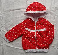Куртка детская на девочку весна/осень (демисезон) с капюшоном (3-6 лет) (цвет красный) оптом со склада