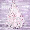 Гирлянды тассел белый с сердцами, 35 см, 5 шт