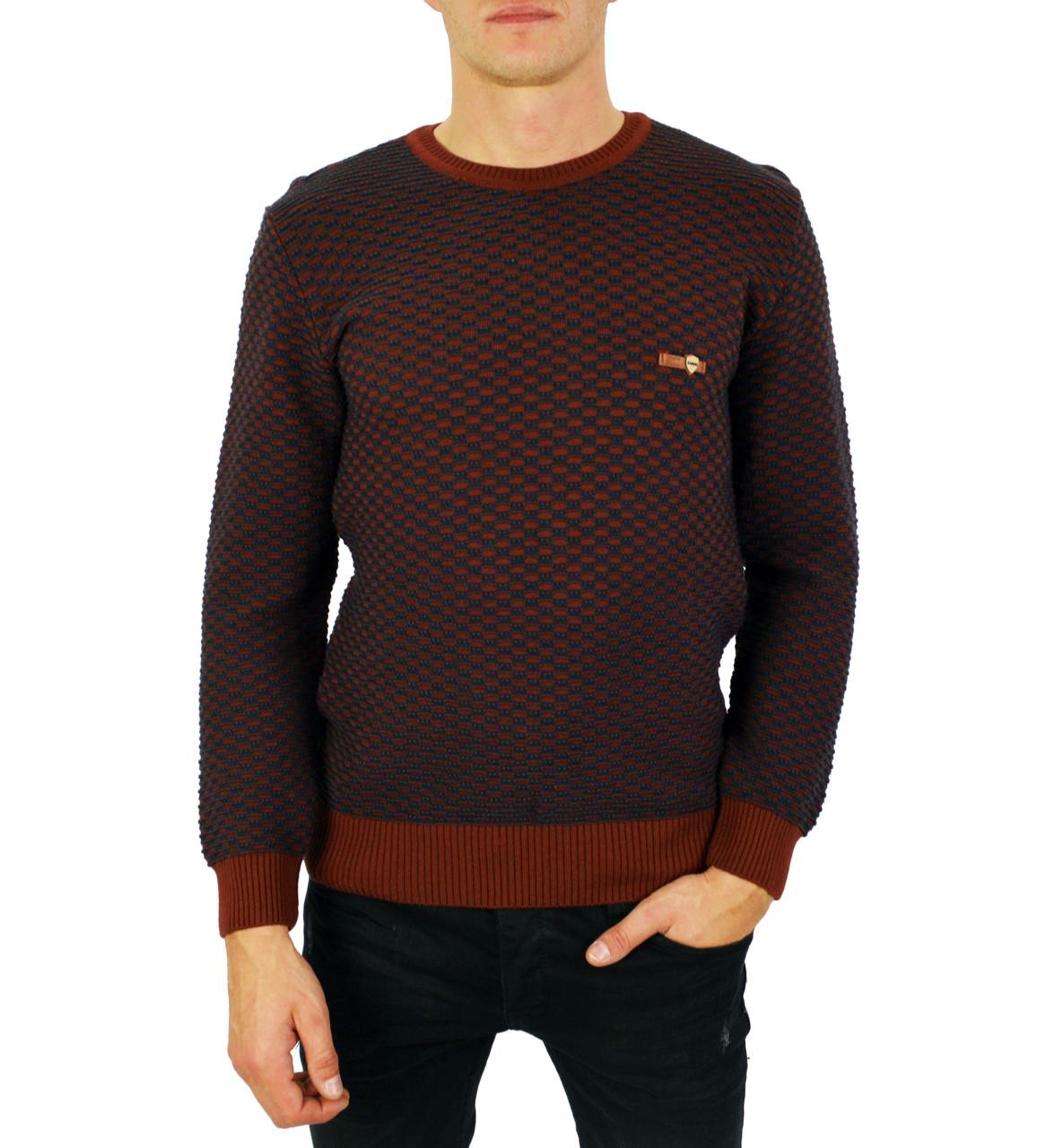 Коричневый свитер мужской, джемпер тонкий KAMENI