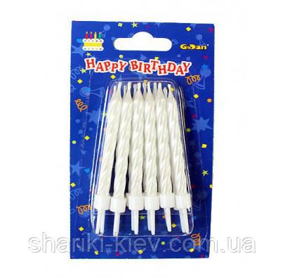 Набор свечей Белый Перламутр 12 штук в торт на День рождения
