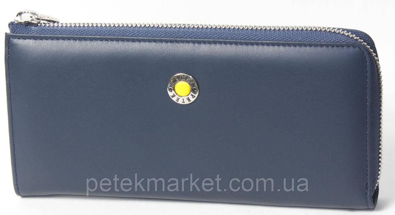 Женское портмоне Petek 476, Синий/Желтый, 2, 5+, Горизонтальное, Гладкая, Внутри, Матовая, Под ровную купюру,