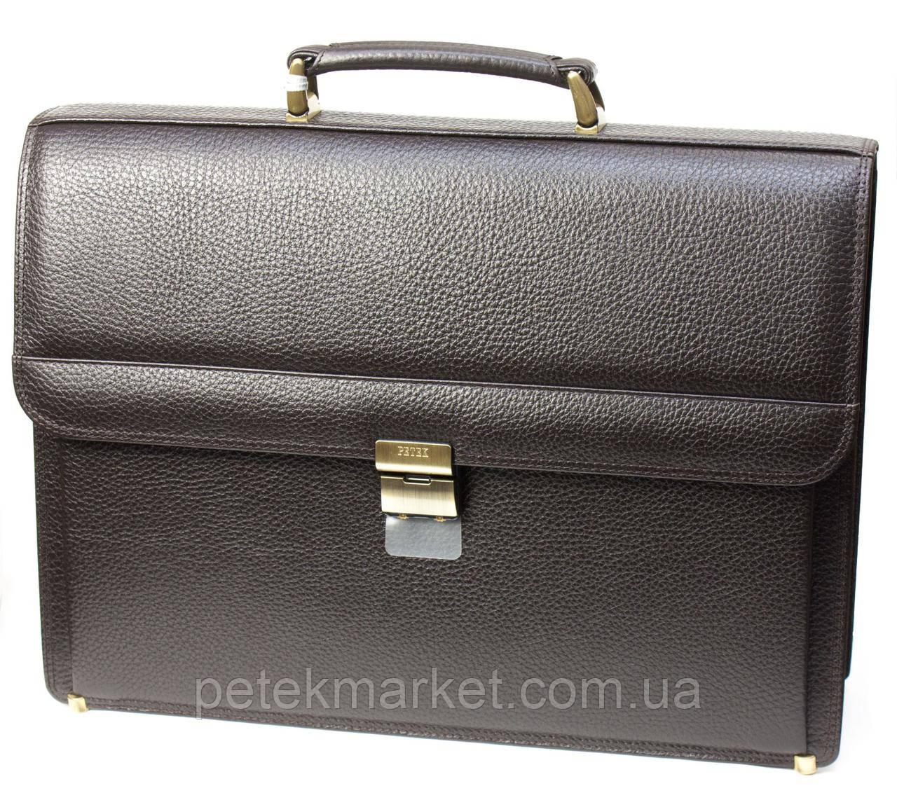 Портфель мужской Petek 781, Коричневый, Естественная фактура, Матовая