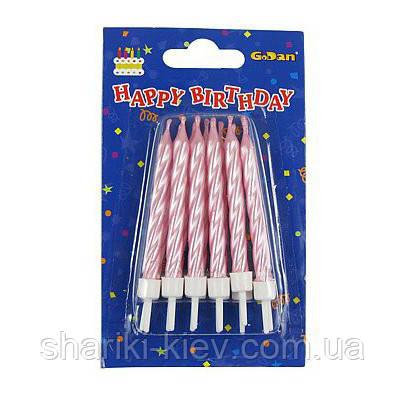 Набор свечей Розовый Перламутр 12 штук в торт на День рождения