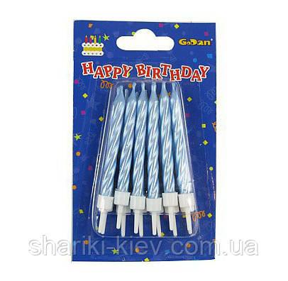 Набор свечей Голубой Перламутр 12 штук в торт на День рождения