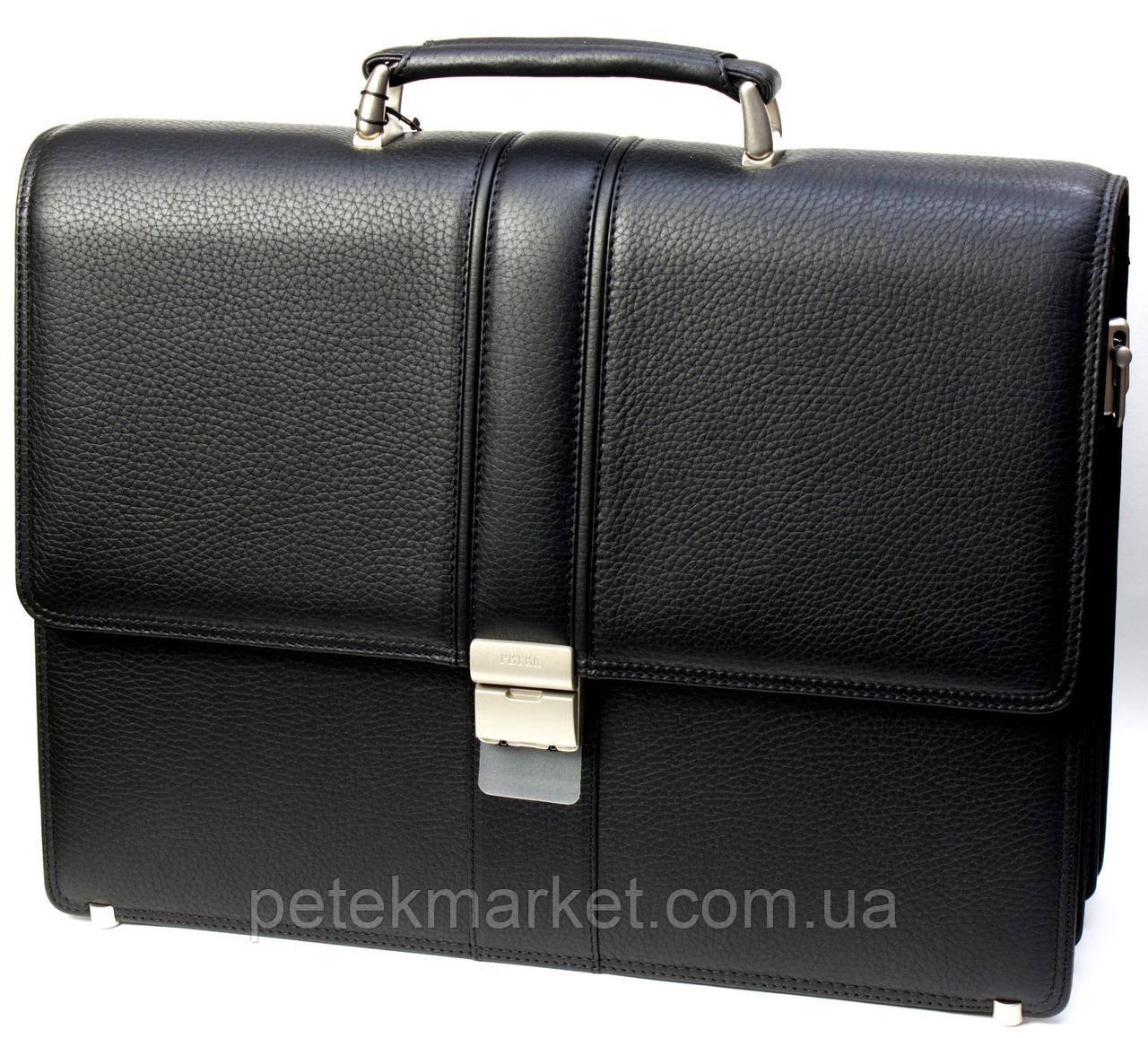 Портфель мужской Petek 794, Черный, Естественная фактура, Матовая, Кожа