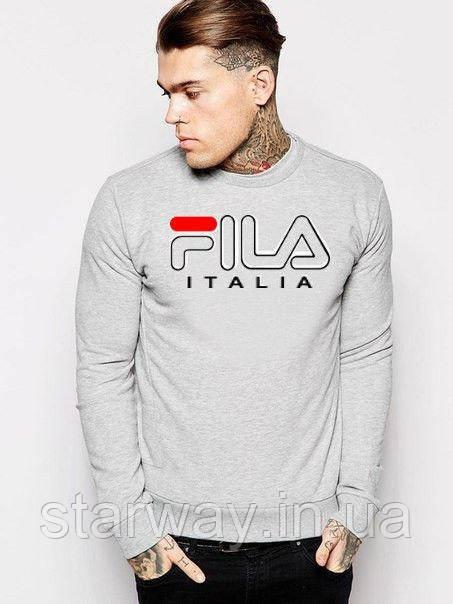 Свитшот серый | Кофта с принтом Fila Italia